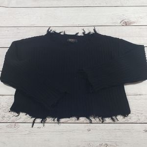 Forever 21 black distressed crop knit sweater sm